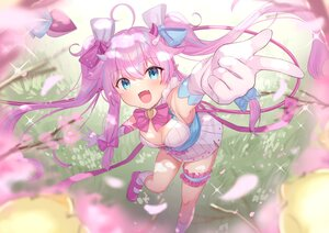 Rating: Safe Score: 78 Tags: aqua_eyes bow breasts cherry_blossoms cleavage dress elbow_gloves fang flowers gloves long_hair pointed_ears purple_hair ribbons socks tagme_(character) tsukiman twintails User: BattlequeenYume
