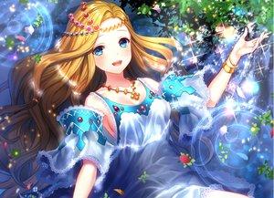 Rating: Safe Score: 66 Tags: aqua_eyes blonde_hair blush cropped dress fuji_minako headdress leaves long_hair necklace original petals waifu2x water wristwear User: luckyluna