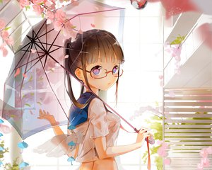 Rating: Questionable Score: 241 Tags: anmi breasts brown_hair cropped erect_nipples flowers glasses original petals pink_eyes see_through umbrella wet User: Wiresetc