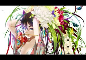 Rating: Safe Score: 112 Tags: black_hair blue_eyes butterfly flowers japanese_clothes kimono long_hair nanahara_shie original User: FormX