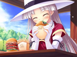 Rating: Safe Score: 42 Tags: elbow_gloves food gloves gray_hair happiness hat long_hair shikimori_ibuki sky User: rayrei