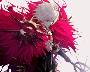 Rating: Safe Score: 62 Tags: all_male blue_eyes bodysuit cropped fate/apocrypha fate_(series) karna male short_hair wanke weapon white_hair User: RyuZU