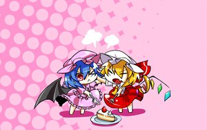 Rating: Safe Score: 41 Tags: 2girls blonde_hair blue_hair cake chibi flandre_scarlet food haipa_okara hat knife ponytail red_eyes remilia_scarlet short_hair touhou vampire wings User: PAIIS