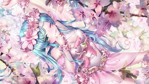 Rating: Safe Score: 40 Tags: aliasing aqua_hair blush breasts cherry_blossoms cleavage dress fairy flowers green_eyes headdress long_hair original pointed_ears see_through suuzuki_ayato watermark wings wink User: BattlequeenYume