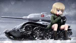 Rating: Safe Score: 56 Tags: blonde_hair blue_eyes chipika combat_vehicle drink girls_und_panzer katyusha short_hair skirt snow User: FormX