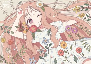 Rating: Safe Score: 34 Tags: brown_hair cat_smile dress flowers leaves long_hair nokanok original petals purple_eyes signed summer_dress wink User: otaku_emmy