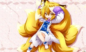 Rating: Safe Score: 28 Tags: animal_ears blonde_hair dress fang foxgirl kazami_karasu loli multiple_tails pink short_hair socks tail touhou yakumo_ran yellow_eyes User: otaku_emmy
