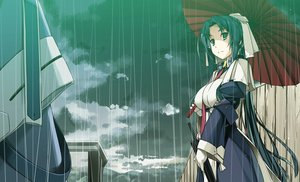 Rating: Safe Score: 59 Tags: clouds gloves kyoukai_senjou_no_horizon long_hair musashi_(horizon) ponytail rain shikei sky umbrella water User: RyuZU