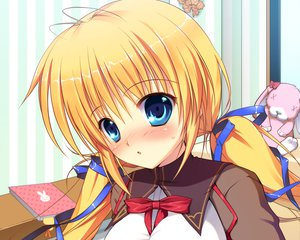 Rating: Safe Score: 53 Tags: blonde_hair blue_eyes blush close game_cg kazamatsuri_mana manatsu_no_yoru_no_yuki_monogatari mikeou seifuku twintails User: Wiresetc