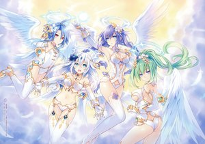 Rating: Safe Score: 70 Tags: ass black_heart blue_eyes blue_hair braids breasts cleavage collar elbow_gloves flowers four_goddesses_online:_cyber_dimension_neptune gloves green_eyes green_hair green_heart group hyperdimension_neptunia long_hair navel pink_eyes ponytail purple_hair purple_heart scan short_hair thighhighs tsunako twintails white_hair white_heart wings User: BattlequeenYume