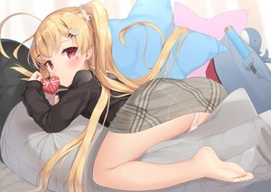 Rating: Questionable Score: 174 Tags: anthropomorphism ass azur_lane blonde_hair blush cameltoe eldridge_(azur_lane) fujieda_uzuki long_hair panties red_eyes skirt twintails underwear valentine User: Fepple