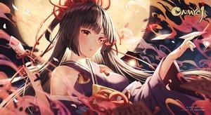 Rating: Safe Score: 74 Tags: black_hair blush clouds higanbana_(onmyouji) japanese_clothes long_hair moon night onmyouji petals red_eyes rosuuri sky twintails watermark User: RyuZU