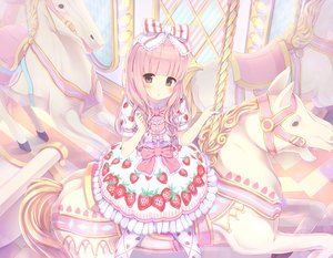 Rating: Safe Score: 71 Tags: alc_(ex2_lv) bow headdress loli lolita_fashion original pink_eyes pink_hair User: FormX