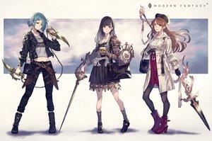 Rating: Safe Score: 46 Tags: armor hat kusano_shinta long_hair navel original skirt sword weapon User: BattlequeenYume