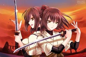 Rating: Safe Score: 101 Tags: 2girls anthropomorphism brown_hair hyuuga_(kancolle) ise_(kancolle) kanna_(artist) kantai_collection katana sword weapon User: Wiresetc