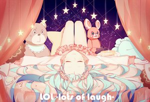 Rating: Safe Score: 107 Tags: bed blue_hair candy hatsune_miku lococo:p long_hair lots_of_laugh_(vocaloid) stars twintails vocaloid User: luckyluna