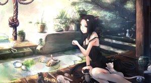Rating: Safe Score: 195 Tags: animal animal_ears black_hair cat catgirl fish green_eyes kikivi original rope User: opai