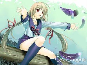 Rating: Safe Score: 9 Tags: animal bird blonde_hair feathers gagraphic logo long_hair naruse_hirofumi school_uniform skirt watermark User: Oyashiro-sama