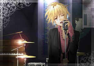 Rating: Safe Score: 35 Tags: drums instrument kagamine_len male microphone piano shirano suit tie vocaloid User: HawthorneKitty