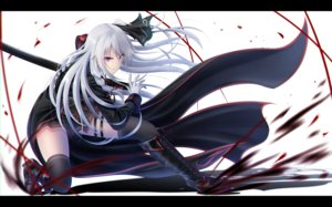 Rating: Safe Score: 36 Tags: blood boots braids garter gloves katana long_hair original red_eyes sword tagme_(artist) thighhighs weapon white_hair User: luckyluna
