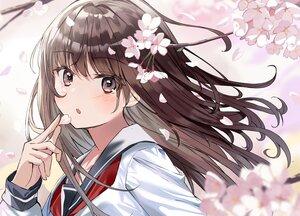 Rating: Safe Score: 63 Tags: aroa_(aroamoyasi) blush brown_eyes brown_hair cherry_blossoms close flowers original school_uniform spring User: BattlequeenYume