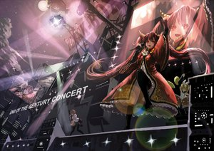 Rating: Safe Score: 109 Tags: drums guitar hatsune_miku horns instrument kagamine_rin long_hair microphone red_eyes red_hair twintails undeedking vocaloid User: FormX