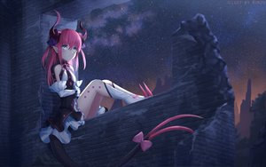 Rating: Safe Score: 168 Tags: boots dress elizabeth_bathory_(fate) fate/extra fate/extra_ccc fate_(series) flat_chest gray_eyes horns kneehighs long_hair night pink_hair pointed_ears rimuu sky stars tail watermark User: RyuZU