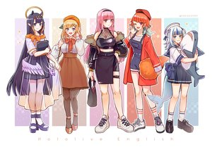 Rating: Safe Score: 38 Tags: amelia_watson animal_ears aqua_eyes blonde_hair blue_eyes blush book bow garter gawr_gura hakamii halo hat headband hololive long_hair mori_calliope ninomae_ina'nis orange_hair pantyhose pink_eyes pink_hair pointed_ears purple_eyes purple_hair red_eyes school_uniform see_through shirt short_hair shorts skirt skirt_lift socks tail takanashi_kiara watermark white_hair wings wink User: otaku_emmy