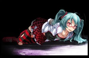 Rating: Safe Score: 65 Tags: blush bondage glasses green_hair hatsune_miku long_hair necklace red_eyes skirt tears thighhighs torn_clothes tsukishiro_saika twintails vocaloid User: BattlequeenYume