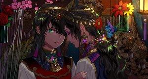 Rating: Safe Score: 48 Tags: all_male black_hair braids flowers green_eyes headdress kazari_tayu long_hair male original ponytail rose User: otaku_emmy