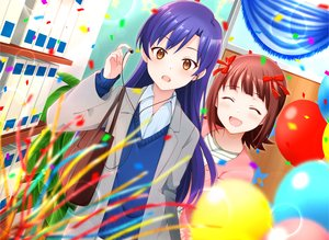 Rating: Safe Score: 24 Tags: 2girls aliasing amami_haruka blue_hair blush bow brown_eyes brown_hair headphones idolmaster kisaragi_chihaya kisaragi_ichigo long_hair school_uniform short_hair User: RyuZU