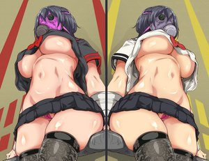 Rating: Questionable Score: 88 Tags: bandage black_hair breasts cameltoe kizuki_rei mask no_bra nopan original school_uniform shirt_lift short_hair skirt thighhighs underboob upskirt wristwear User: otaku_emmy