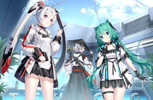 Rating: Safe Score: 40 Tags: animal_ears bunny_ears clouds gloves gray_hair green_hair hat japanese_clothes long_hair purple_eyes ririko_(zhuoyandesailaer) skirt sky sword techgirl twintails weapon User: BattlequeenYume