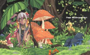 Rating: Safe Score: 68 Tags: breasts cleavage dark_skin forest grass green_eyes leaves long_hair original purin_neko tree white_hair User: FormX