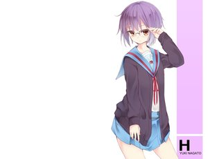 Rating: Safe Score: 75 Tags: brown_eyes glasses nagato_yuki otokuyou purple_hair school_uniform short_hair skirt suzumiya_haruhi_no_yuutsu white User: kokiriloz