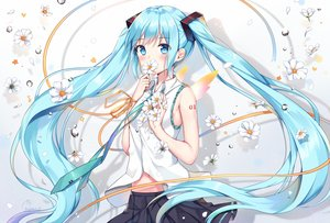 Rating: Safe Score: 99 Tags: aqua_eyes aqua_hair blush flowers hatsune_miku long_hair mamemena navel petals skirt twintails vocaloid User: RyuZU