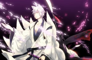 Rating: Safe Score: 80 Tags: animal_ears bicolored_eyes black_hair horns inu_x_boku_ss japanese_clothes long_hair male miketsukami_soushi multiple_tails petals shirakiin_ririchiyo short_hair sword tail weapon white_hair User: Soec