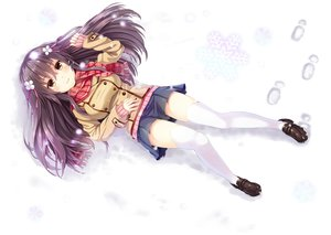 Rating: Safe Score: 118 Tags: black_hair brown_eyes long_hair original ribbons scarf seifuku sen_kagura skirt snow thighhighs winter User: Flandre93