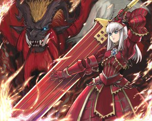 Rating: Safe Score: 96 Tags: armor blue_eyes fire horns kimuchi monster_hunter red sword teostra weapon white_hair User: lost91colors
