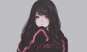 Rating: Safe Score: 100 Tags: aliasing black_hair gray kyrie_meii long_hair original pink_eyes tattoo watermark User: otaku_emmy
