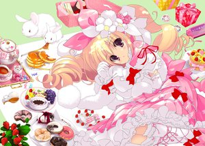 Rating: Safe Score: 78 Tags: animal azumaya_matsukaze blonde_hair blush bow drink elbow_gloves food fruit game_console gloves headdress kneehighs loli lolita_fashion long_hair pink_eyes rabbit ribbons wristwear yoshiwo User: Xtea