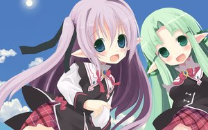 Rating: Safe Score: 66 Tags: 2girls blue_eyes bow green_eyes green_hair loli pointed_ears purple_hair shiro_(octet) tagme_(character) wiz_anniversary User: birdy73