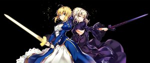 Rating: Safe Score: 51 Tags: black blonde_hair bow breasts cleavage dress fate_(series) fate/stay_night green_eyes riichu saber saber_alter sword waifu2x weapon yellow_eyes User: otaku_emmy