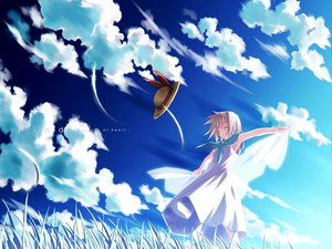 Rating: Safe Score: 34 Tags: clouds dress grass hat sky tsukishiro_hikari wind:_a_breath_of_heart User: WhiteExecutor