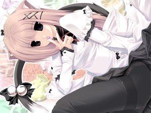 Rating: Safe Score: 79 Tags: animal_ears bell bow catgirl headdress maid pantyhose pink_hair ribbons tail User: korokun