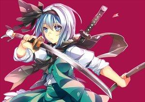 Rating: Safe Score: 28 Tags: blue_eyes gray_hair headband katana konpaku_youmu scar scarf shoken_narai short_hair sketch skirt sword touhou waifu2x weapon User: RyuZU