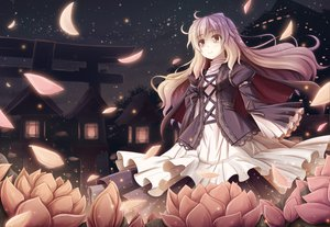 Rating: Safe Score: 138 Tags: akashio blonde_hair brown_eyes dress flowers hijiri_byakuren long_hair night petals stars touhou User: opai