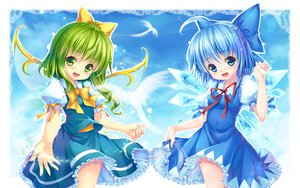 Rating: Safe Score: 44 Tags: blue_eyes blue_hair bow cirno daiyousei dress grandia_(artist) green_eyes green_hair ribbons short_hair skirt sky touhou wings User: Maboroshi
