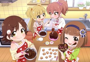Rating: Safe Score: 24 Tags: apron blonde_hair blush bow brown_eyes brown_hair chocolate fang green_eyes group headband honda_mio idolmaster idolmaster_cinderella_girls jougasaki_mika jougasaki_rika loli long_hair mimura_kanako necklace ponytail scan seifuku short_hair skirt tagme_(artist) twintails valentine wink User: RyuZU