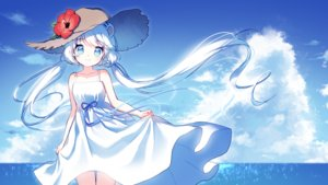 Rating: Safe Score: 46 Tags: animal_ears aqua_eyes clouds dress flowers hat long_hair mechuragi original signed skirt_lift sky summer_dress twintails water white_hair User: RyuZU